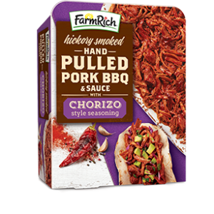 Farm Rich pulled pork BBQ with sauce and chorizo seasoning
